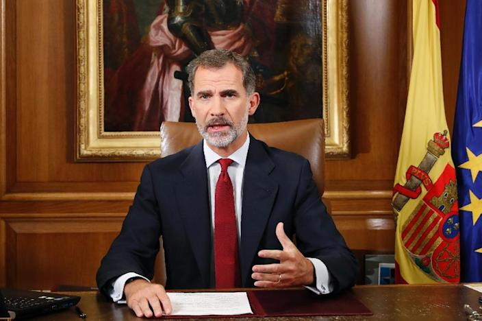 Spain's King Felipe VI accused Catalonia's leaders of acting outside the law (AFP Photo/Francisco Gomez Casa Real)