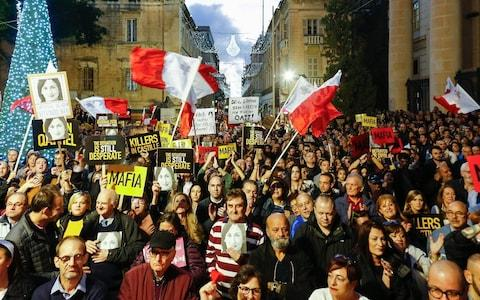 <span>A protest calling for justice for the murdered journalist in the capital, Valletta, on Sunday December 1</span> <span>Credit: AP </span>