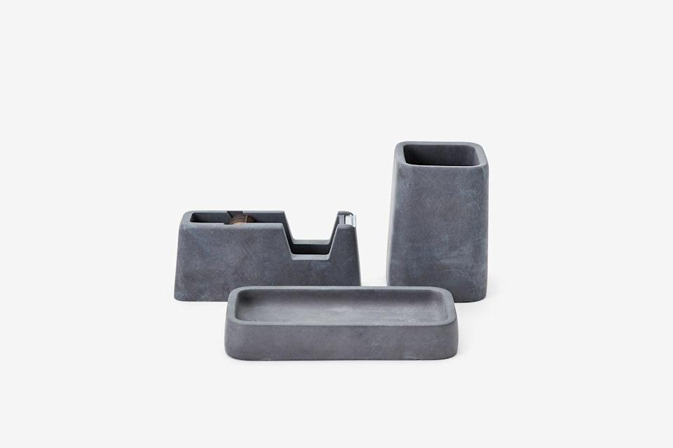 "<h2>Concrete Desk Collection</h2><br>Getting organized is as simple as having the right tools standing by. <br><br><strong>magnus pettersen</strong> Concrete Desk Collection, $, available at <a href=""https://go.skimresources.com/?id=30283X879131&url=https%3A%2F%2Fwww.areaware.com%2Fcollections%2Fdesk-office%2Fproducts%2Fconcrete-desk-collection%3F"" rel=""nofollow noopener"" target=""_blank"" data-ylk=""slk:Areaware"" class=""link rapid-noclick-resp"">Areaware</a>"