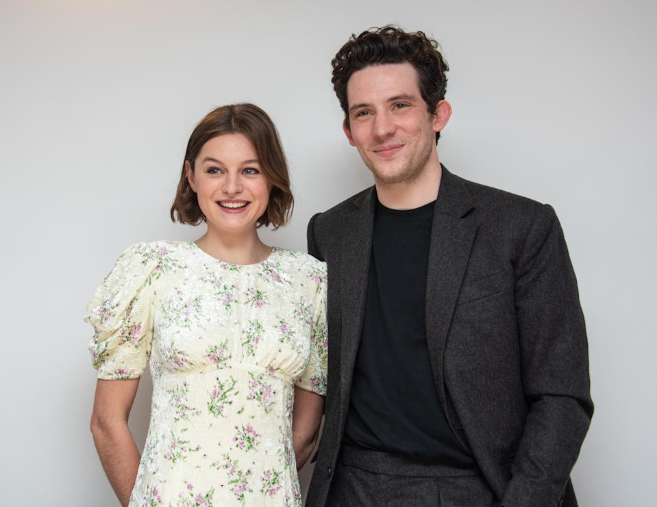 """LONDON, ENGLAND - MARCH 02: Emma Corrin and Josh O'Connor at the """"The Crown"""" Set Visit at undisclosed location on March 02, 2020 in London, England. (Photo by Vera Anderson/WireImage)"""