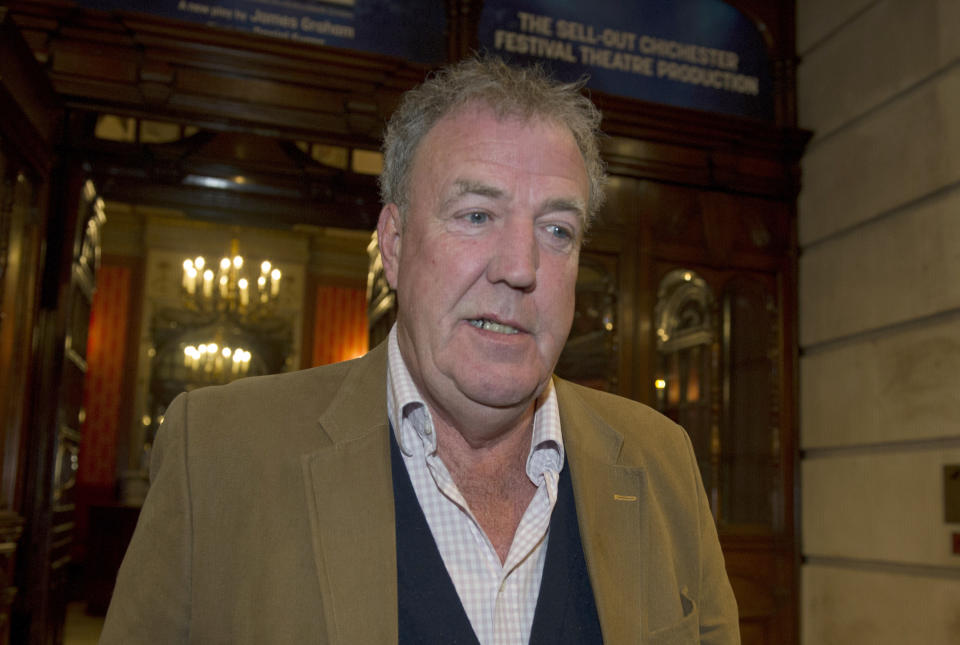 "Jeremy Clarkson leaves the Noel Coward Theatre in London after watching a performance of ""Quiz""."