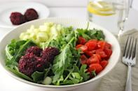 """<p>These beet-flavored baked chickpea balls are perfect for whatever Mediterranean dish you want to make — from gyros to burger substitutes. But they're delicious in a fresh, simple lunch salad.</p><p><strong>Get the recipe at <a href=""""https://www.simplylakita.com/beetfalafelbowl/"""" rel=""""nofollow noopener"""" target=""""_blank"""" data-ylk=""""slk:Simply LaKita"""" class=""""link rapid-noclick-resp"""">Simply LaKita</a>.</strong></p><p><strong><a class=""""link rapid-noclick-resp"""" href=""""https://www.amazon.com/dp/B00282JL7G?tag=syn-yahoo-20&ascsubtag=%5Bartid%7C10050.g.34063059%5Bsrc%7Cyahoo-us"""" rel=""""nofollow noopener"""" target=""""_blank"""" data-ylk=""""slk:SHOP BAKING SHEETS"""">SHOP BAKING SHEETS</a><br></strong></p>"""