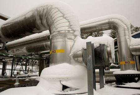 Snow covered transfer lines are seen at the Dominion Cove Point Liquefied Natural Gas terminal in Maryland