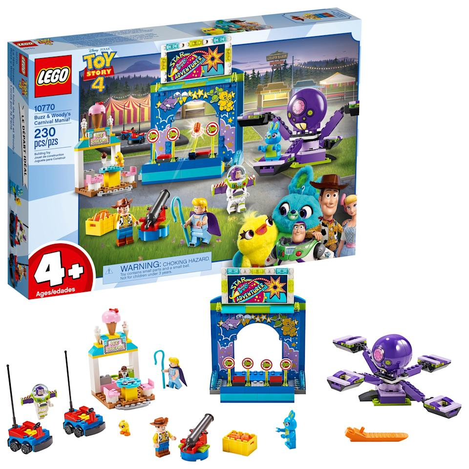 """<p>The <a href=""""https://www.popsugar.com/buy/Lego-strongToy-Story-4strong-Buzz-Woody-Carnival-Mania-set-454497?p_name=Lego%20%3Cstrong%3EToy%20Story%204%3C%2Fstrong%3E%20Buzz%20and%20Woody%27s%20Carnival%20Mania%21%20set&retailer=walmart.com&pid=454497&evar1=moms%3Aus&evar9=46502951&evar98=https%3A%2F%2Fwww.popsugar.com%2Fphoto-gallery%2F46502951%2Fimage%2F46502954%2FLego-Toy-Story-4-Buzz-Woody-Carnival-Mania&list1=gift%20guide%2Clego%2Ctoy%20story%2Cparenting%20gift%20guide%2Ctoy%20story%204&prop13=api&pdata=1"""" rel=""""nofollow"""" data-shoppable-link=""""1"""" target=""""_blank"""" class=""""ga-track"""" data-ga-category=""""Related"""" data-ga-label=""""https://www.walmart.com/ip/LEGO-4-Toy-Story-4-Buzz-Woody-s-Carnival-Mania-10770/991569196"""" data-ga-action=""""In-Line Links"""">Lego <strong>Toy Story 4</strong> Buzz and Woody's Carnival Mania! set</a> ($40, originally $50) has 230 pieces and is for kids ages 4 and up.</p>"""
