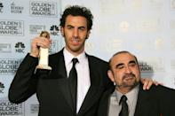 Sacha Baron Cohen (L) won a Golden Globe for his first big screen appearance as Borat in 2007; he is seen here with co-star Ken Davitian (R)