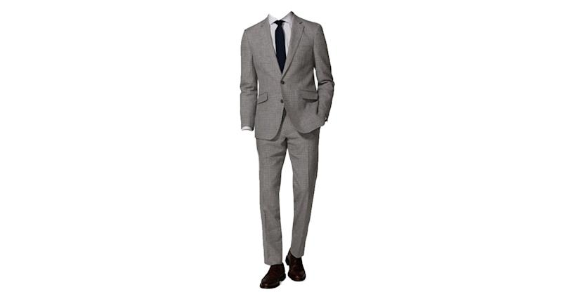 Ravello Italian Summer Slim Fit Grey and Navy Microcheck Suit
