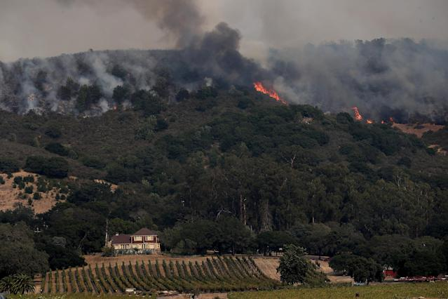 <p>An out of control wildfire approaches Gundlach Bundschu Winery on Oct. 9, 2017 in Sonoma, California. (Photo: Justin Sullivan/Getty Images) </p>