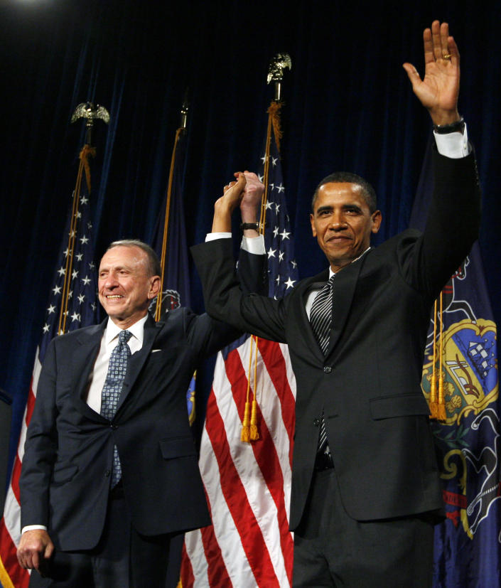 FILE - In this Sept. 15, 2009 file photo, President Barack Obama arrives at a fundraising event for Sen. Arlen Specter, D-Pa., at the Pennsylvania Convention Center in Philadelphia. Former U.S. Sen. Arlen Specter, longtime Senate moderate and architect of one-bullet theory in JFK death, died Sunday, Oct. 14, 2012. He was 82. (AP Photo/Charles Dharapak, File)