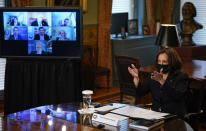 Vice President Kamala Harris speaks at a virtual meeting with outside national security experts in Vice President's ceremonial office at the Eisenhower Executive Office Building on the White House complex in Washington, Wednesday, April 14, 2021. (AP Photo/Carolyn Kaster)