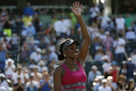 Mar 26, 2017; Miami, FL, USA; Venus Williams of the United States waves to the crowd after her match against Patricia Maria Big of Romania (not pictured) on day six of the 2017 Miami Open at Crandon Park Tennis Center. Mandatory Credit: Geoff Burke-USA TODAY Sports