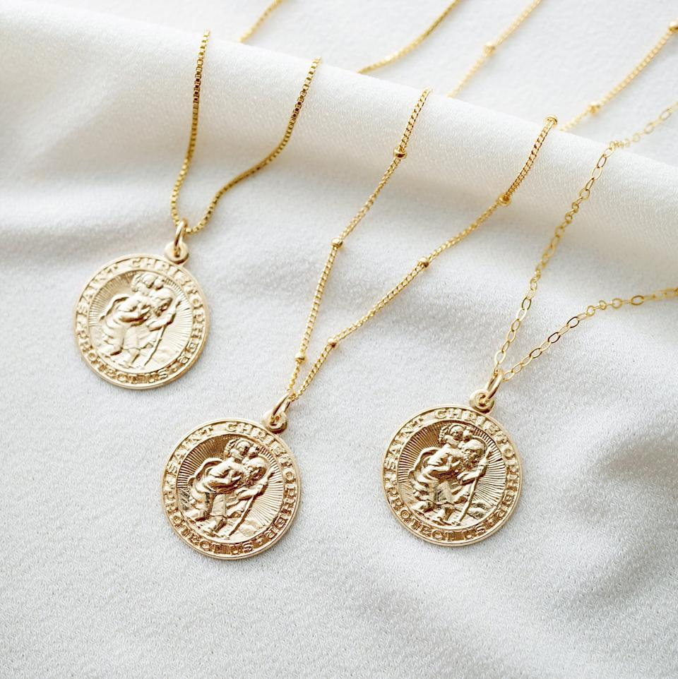 Traveler's Protection Gold Coin Medallion Necklace with 14K gold fill by Hunter and Trove, from $52.