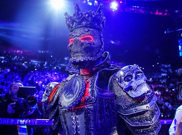 Former WBC heavyweight champion Deontay Wilder said the costume he wore for his ring walk Saturday prior to his fight with Tyson Fury was too heavy and weakened his legs. (Mikey Williams/Top Rank)