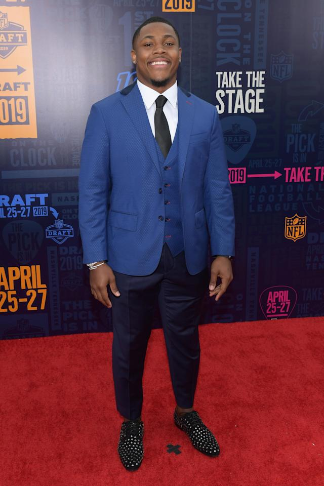 Football player Josh Jacobs attends the 2019 NFL Draft on April 25, 2019 in Nashville, Tennessee. (Photo by Jason Kempin/Getty Images)