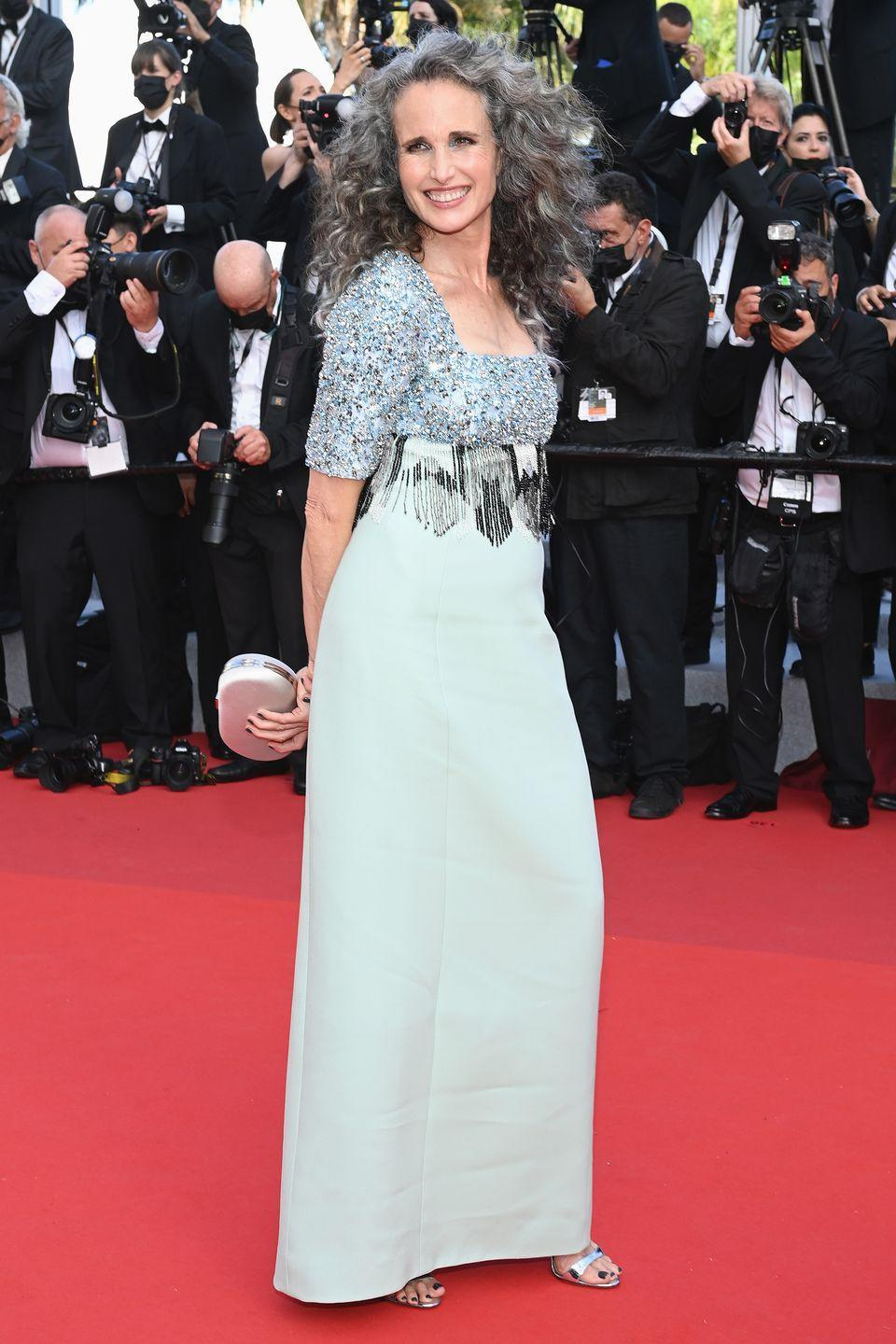 <p>The actress and L'Oreal muse wore a classic silver-grey column dress with an embellished bodice. </p>