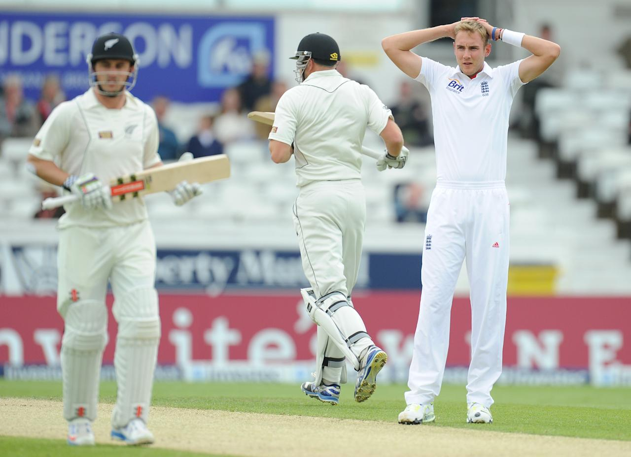England's Stuart Broad watches as New Zealand make runs at during the Second Investec Test match at Headingley, Leeds.