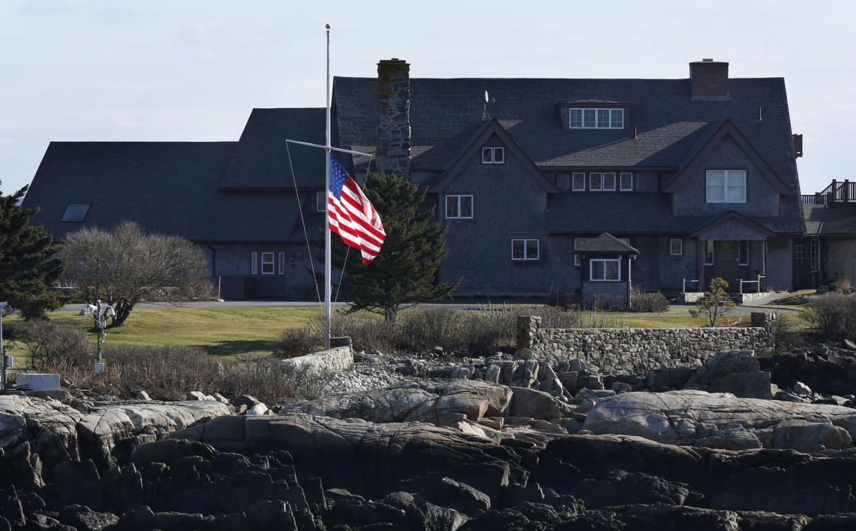 The American flag flies at half-mast at Walker's Point, the summer home of former President George H. W. Bush, on Dec. 1, in Kennebunkport, Maine. (Photo: Robert F. Bukaty/AP)