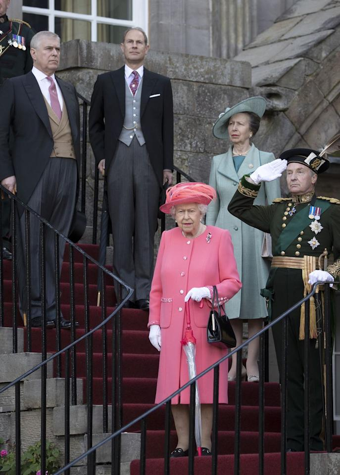 <p>Prince Andrew, Prince Edward, and Princess Anne join their mother at the party.</p>