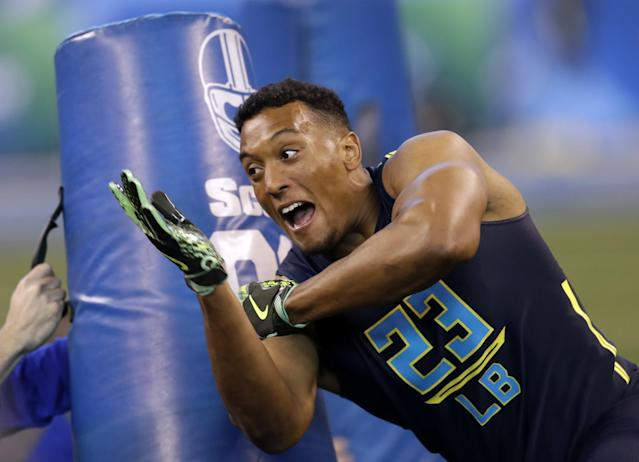 Hardy Nickerson at the NFL combine; he has signed with Cincinnati as an undrafted free agent. (AP)
