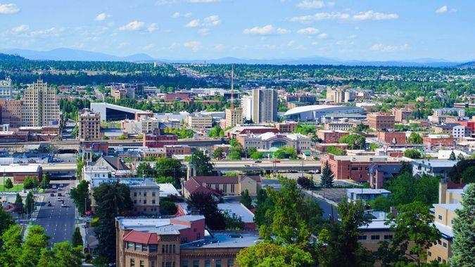 """""""Spokane, United States - July 21, 2012: View of downtown Spokane as seen from an elevated viewpoint along the South Hill."""