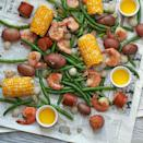 <p>One pot is all you need for this easy Low-Country boil. We added green beans to the classic combination of potatoes, corn, shrimp and sausage to boost the veggie servings for a healthier crowd-pleasing meal. Dump the whole potful out on newspaper and serve with melted butter for dipping and crusty bread to round it all off!</p>