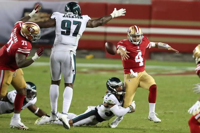 Mullens' giveaways send 49ers to 25-20 loss to Eagles
