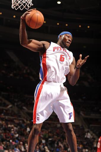 AUBURN HILLS, MI - APRIL 26: Ben Wallace #6 of the Detroit Pistons handles the ball during the game between the Detroit Pistons and the Philadelphia 76ers on April 26, 2012 at The Palace of Auburn Hills in Auburn Hills, Michigan. (Photo by Dan Lippitt/NBAE via Getty Images)