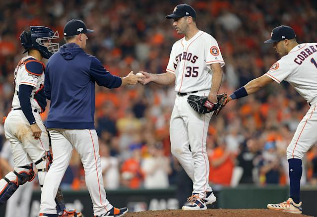 Astros pitcher Justin Verlander has repeatedly expressed frustrations with fluctuations in the baseball, and during the postseason said the ball 'dictated' the game. (Bob Levey/Getty Images)