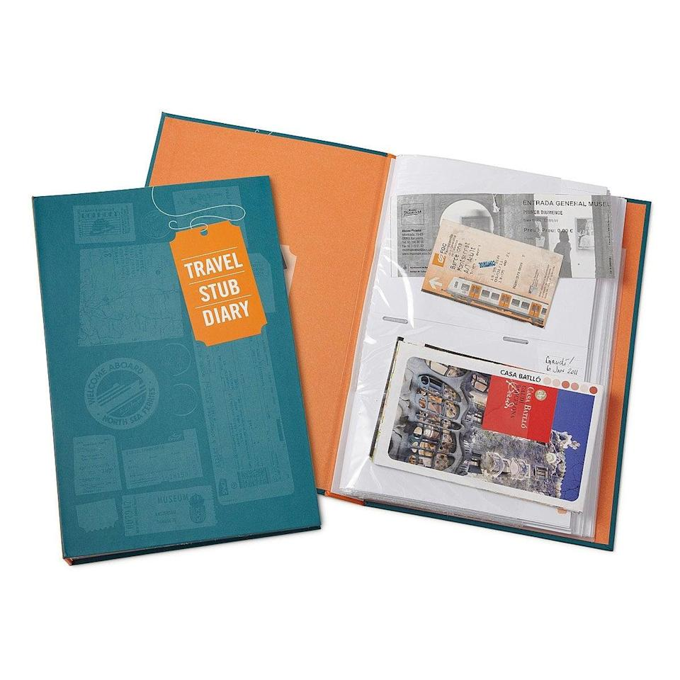 <p>If they love to save mementos from their trips and adventures, the <span>Travel Stub Diary</span> ($15) let's them keep track of their travels. They can fill up this scrapbook and use it as a coffee table book as well. </p>