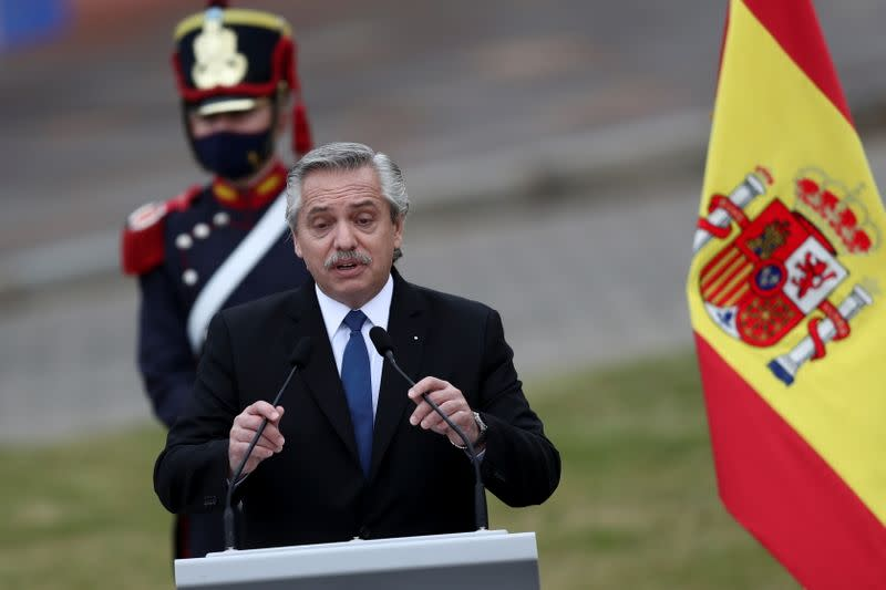 Argentina's President Fernandez and Spain's Prime Minister Sanchez hold a news conference in Buenos Aires
