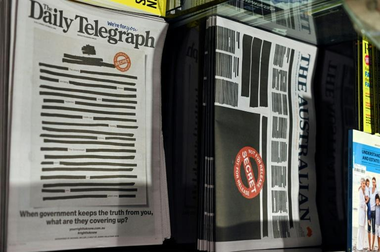 Australia's leading newspapers blacked out Monday front pages in protest against government secrecy and a crackdown on press freedom
