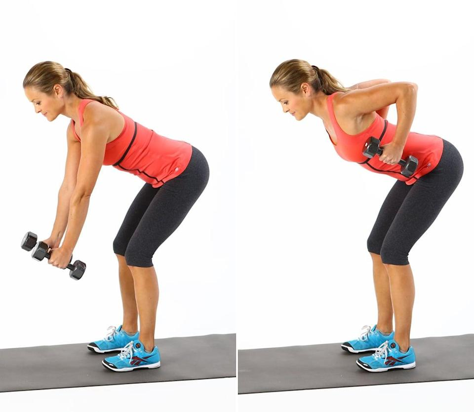 <ul> <li>Stand with your feet hip-distance apart, holding a dumbbell in each hand at the sides of your body. Lean forward, bending both knees, keeping your back flat.</li> <li>Extend your arms in front of you so they're parallel with your thighs. </li> <li>Pull your elbows behind your back, raising the dumbbells toward the sides of your ribs, squeezing your shoulder blades together. Be sure to keep your elbows in and pointed upward, and don't arch your back.</li> <li>Slowly lower the weights back to the starting position.</li> <li>This completes one rep.</li> </ul>
