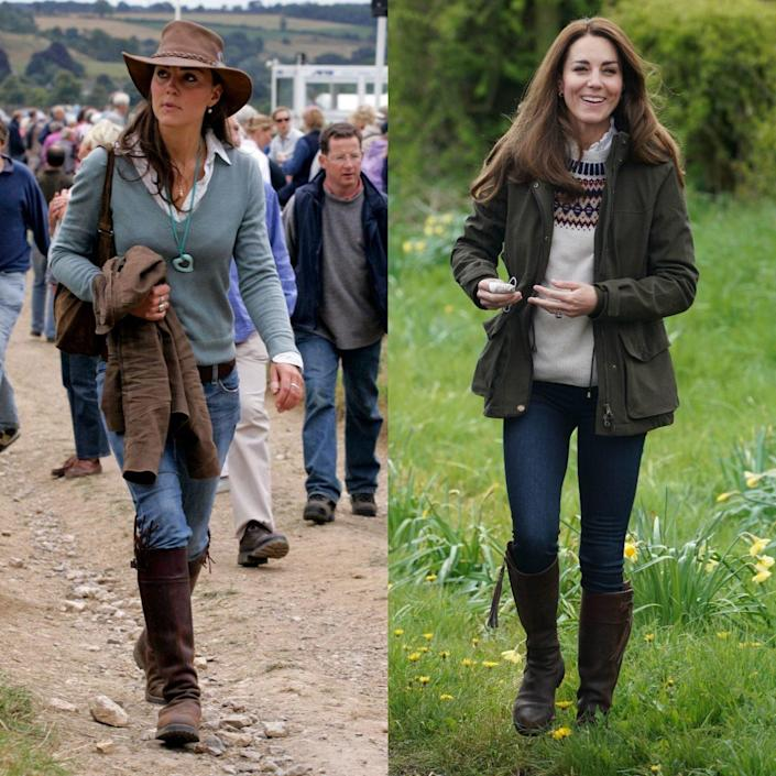 Kate wearing Penelope Chilvers tassel boots in 2005 and 2021