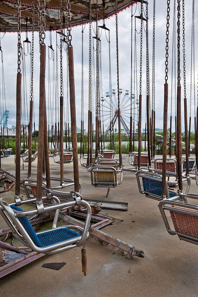 """<p>This theme park was destroyed by <a href=""""http://www.atlasobscura.com/places/six-flags-abandoned-amusement-park"""" rel=""""nofollow noopener"""" target=""""_blank"""" data-ylk=""""slk:Hurricane Katrina"""" class=""""link rapid-noclick-resp"""">Hurricane Katrina</a> in 2005. Murky water rose as high as six feet and salt water damaged 80 percent of the rides, leaving it too expensive to restore. What's left behind is like the funhouse version of a theme park—and a strangely beautiful monument to the vibrant city once nearly destroyed by tragedy. </p>"""