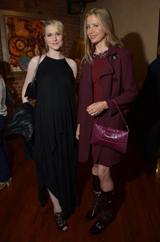 NEW YORK, NY - APRIL 18:  Actors Evan Rachel Wood and Mira Sorvino attend the Juror Welcome Lunch during the 2013 Tribeca Film Festival at Tribeca Grill Loft on April 18, 2013 in New York City.  (Photo by Mike Coppola/Getty Images)