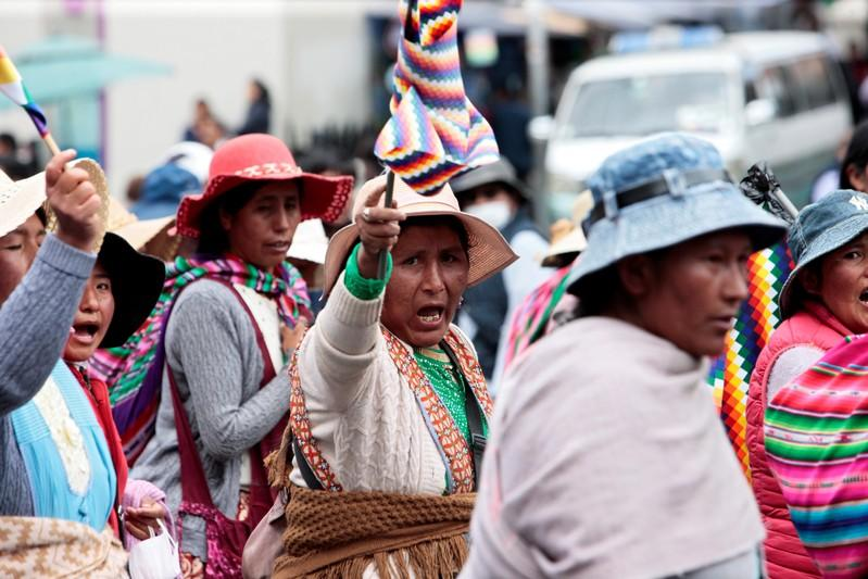 Supporters of ousted Bolivian President Evo Morales march in La Paz
