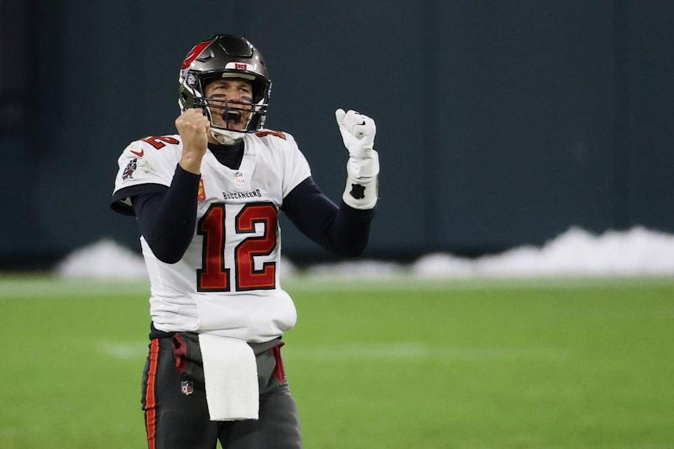 Tom Brady of the Tampa Bay Buccaneers celebrates victory over the Green Bay PackersGetty
