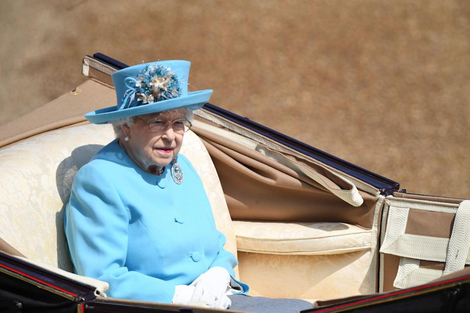 The Queen wore a cornflower blue look for the Trooping the Colour. (Photo: Getty Images)