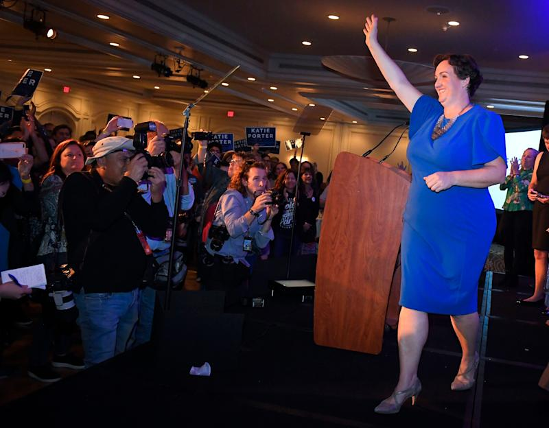 Katie Porter, the Democratic candidate for the 45th Congressional District, waves to supporters after speaking on election night in Irvine on Tuesday, Nov. 6, 2018. (Photo: Digital First Media/Orange County Register via Getty Images via Getty Images)