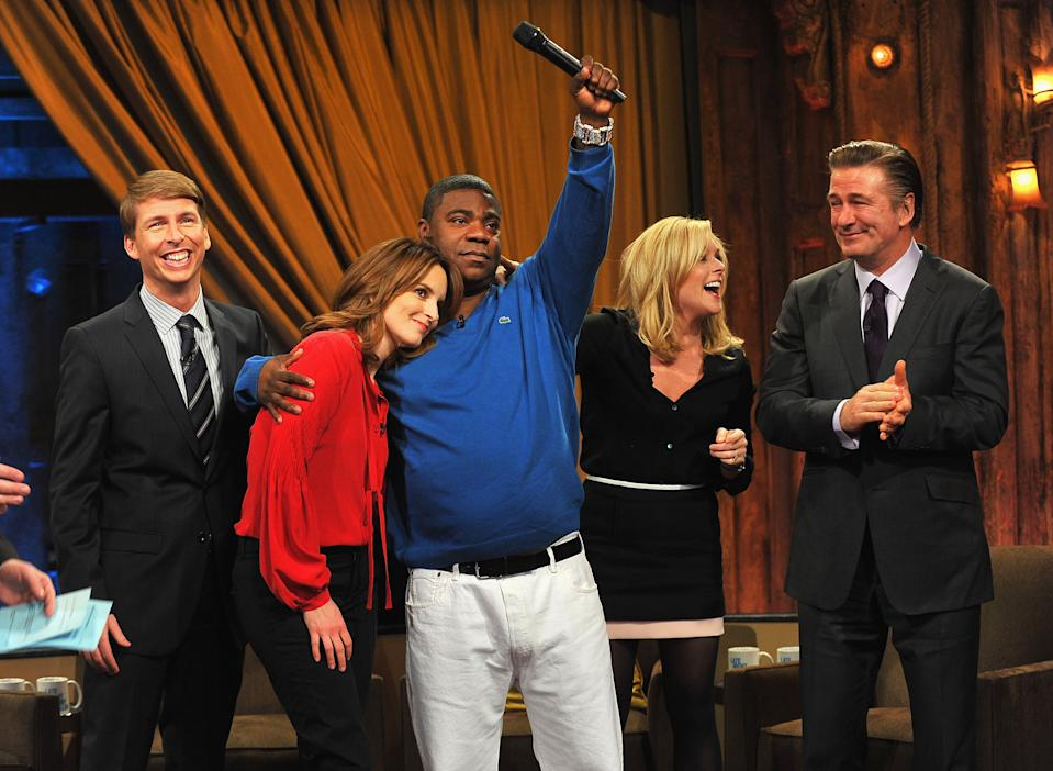 "NEW YORK, NY - JANUARY 10:  Jack McBrayer, Tina Fey, Tracy Morgan, Jane Krakowski and Alec Baldwin visit ""Late Night With Jimmy Fallon"" at Rockefeller Center on January 10, 2013 in New York City.  (Photo by Theo Wargo/Getty Images)"