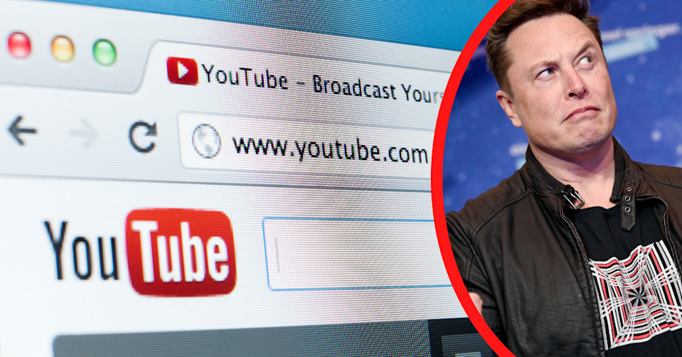 Close up of a browser with YouTube.com loaded and Elon Musk