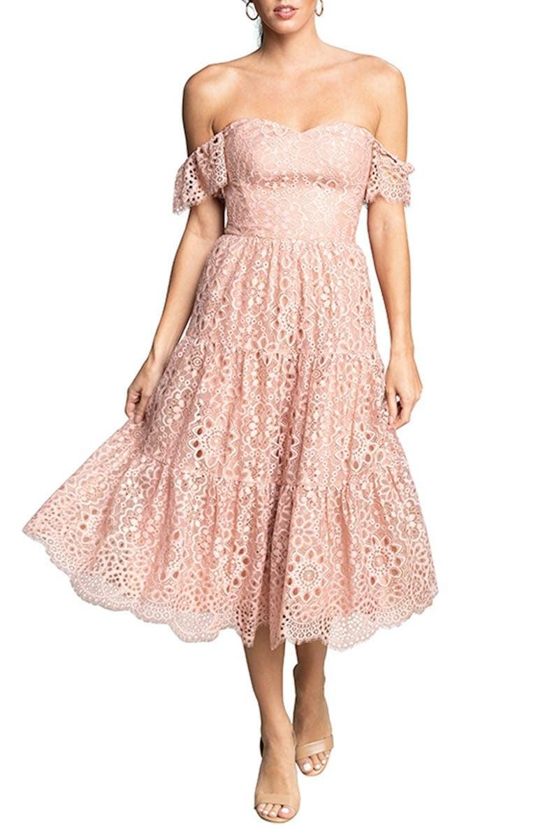 <p><span>Dress the Population River Lace Off the Shoulder Fit &amp; Flare Dress</span> ($298)</p>