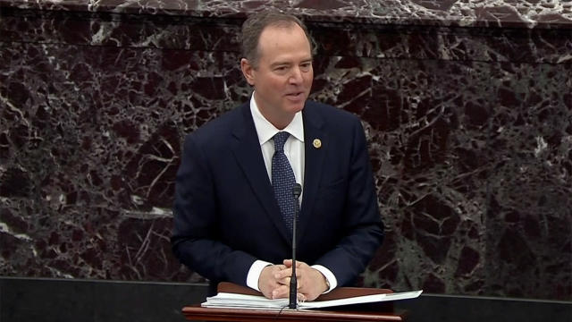 House impeachment manager Adam Schiff gives opening remarks on the Senate floor during the impeachment trial of President Trump on Wednesday. (Screengrab: Senate TV via Yahoo News)
