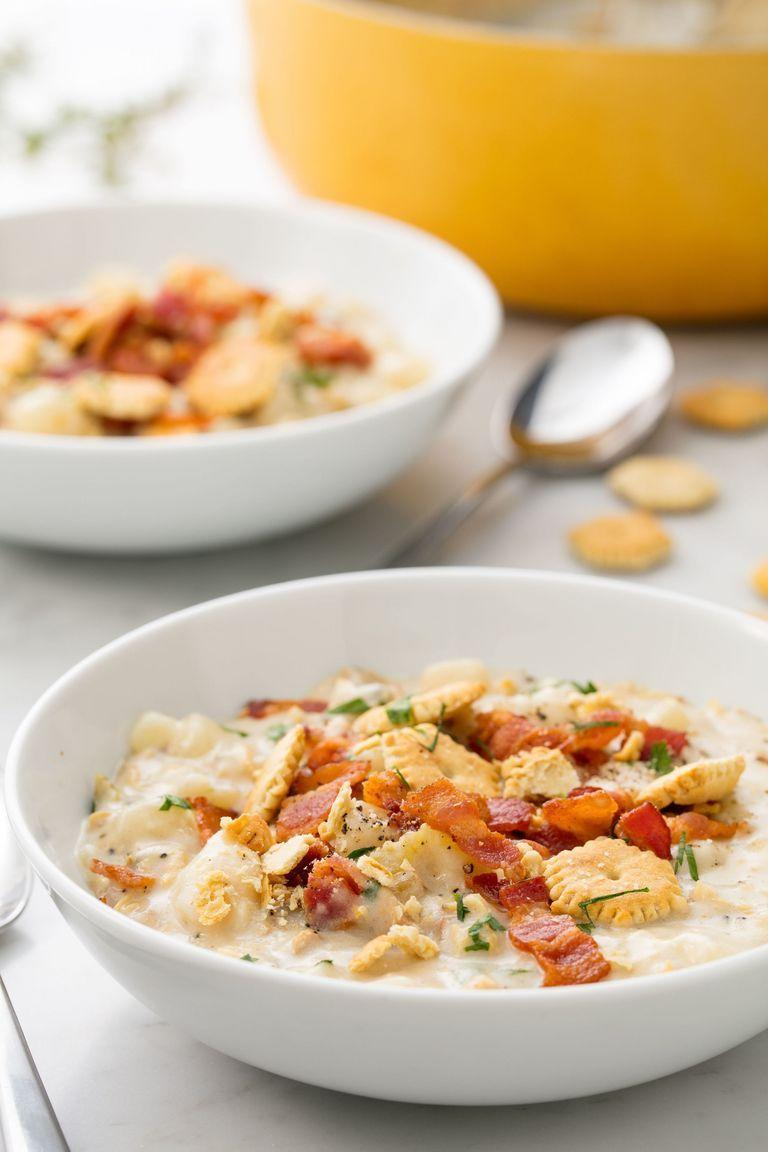 """<p>There's something about a classic clam chowder that is hard to beat. Top yours with crispy bacon bits and crackers to add some crunch. </p><p><strong><em>Get the recipe at <a href=""""https://www.delish.com/cooking/recipe-ideas/recipes/a54466/easy-new-england-clam-chowder-recipe/"""" rel=""""nofollow noopener"""" target=""""_blank"""" data-ylk=""""slk:Delish"""" class=""""link rapid-noclick-resp"""">Delish</a>. </em></strong></p>"""