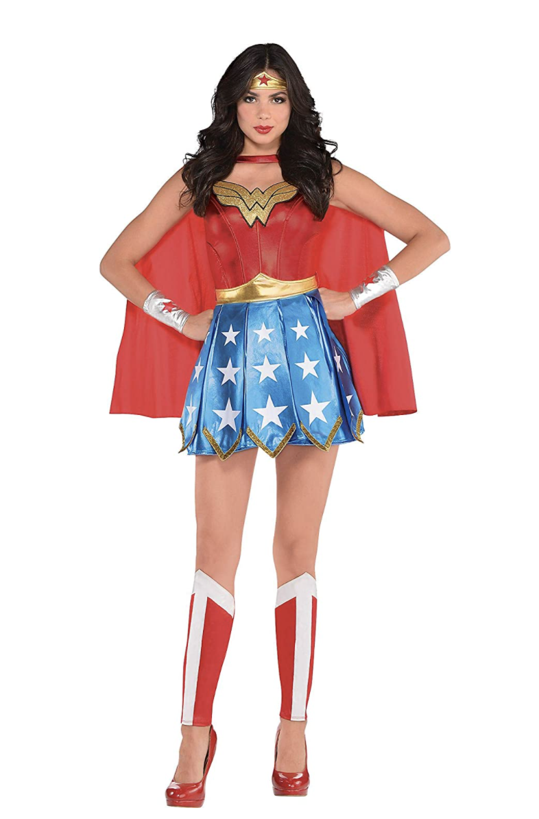"""<p><strong>Costumes USA</strong></p><p>amazon.com</p><p><strong>$56.99</strong></p><p><a href=""""https://www.amazon.com/dp/B07QL34VS1?tag=syn-yahoo-20&ascsubtag=%5Bartid%7C10055.g.34292032%5Bsrc%7Cyahoo-us"""" rel=""""nofollow noopener"""" target=""""_blank"""" data-ylk=""""slk:Shop Now"""" class=""""link rapid-noclick-resp"""">Shop Now</a></p><p>Who wouldn't want to be Wonder Woman for a day? Transform into this popular brunette superhero by donning this star-spangled costume, including her iconic gold tiara.</p><p><strong>RELATED:</strong> <a href=""""https://www.goodhousekeeping.com/holidays/halloween-ideas/g4566/superhero-halloween-costumes/"""" rel=""""nofollow noopener"""" target=""""_blank"""" data-ylk=""""slk:35 Superhero Halloween Costume Ideas You Can DIY or Buy Last-Minute"""" class=""""link rapid-noclick-resp"""">35 Superhero Halloween Costume Ideas You Can DIY or Buy Last-Minute</a></p>"""