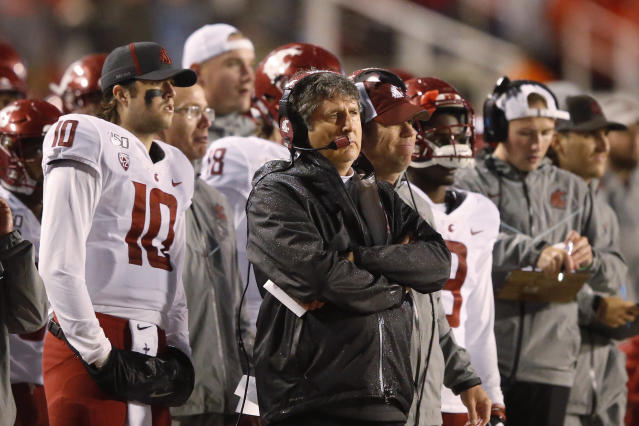 Washington State head coach Mike Leach looks on in the first half of an NCAA college football game against Utah Saturday, Sept. 28, 2019, in Salt Lake City. (AP Photo/Rick Bowmer)