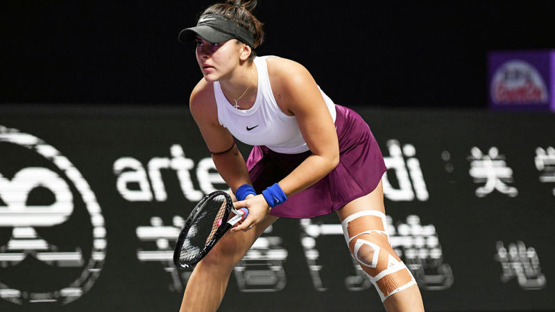 Bianca Andreescu, pictured here in action at the WTA Finals in 2019.