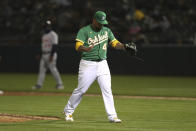 Oakland Athletics pitcher Frankie Montas reacts after the top of the sixth inning of a baseball game against the Detroit Tigers in Oakland, Calif., Friday, April 16, 2021. (AP Photo/Jed Jacobsohn)
