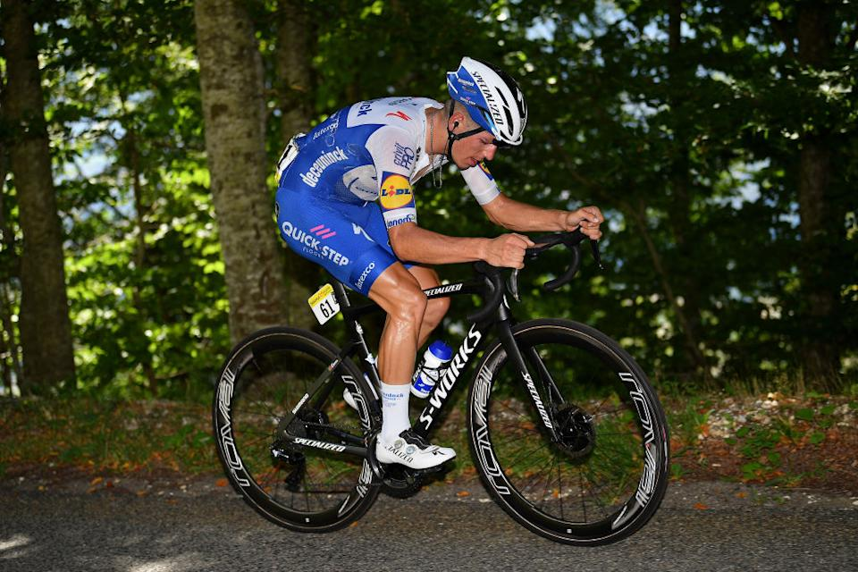 SAINTVULBAS FRANCE  AUGUST 08 Joo Almeida of Portugal and Team Deceuninck  QuickStep  during the 32nd Tour de LAin 2020 Stage 2 a 141km stage from Lagnieu to Llex MontsJura 896m  tourdelain  TOURDELAIN  TDA  on August 08 2020 in SaintVulbas France Photo by Justin SetterfieldGetty Images