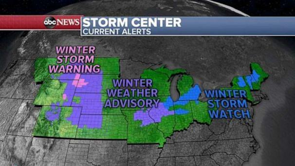 PHOTO: This morning we already have 8 states under snow, wind and flood alerts. (ABC News)