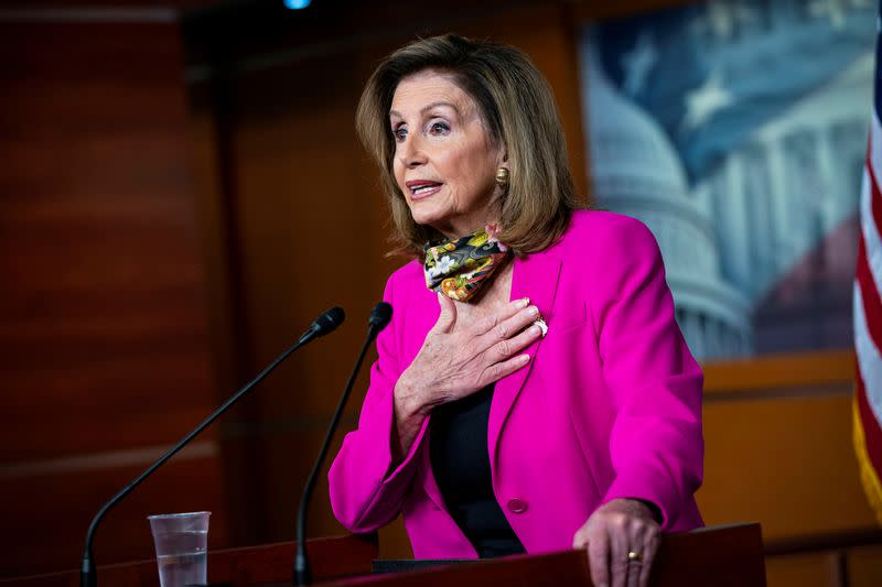 FILE PHOTO: U.S. House Speaker Nancy Pelosi (D-CA) speaks during a news conference on Capitol Hill